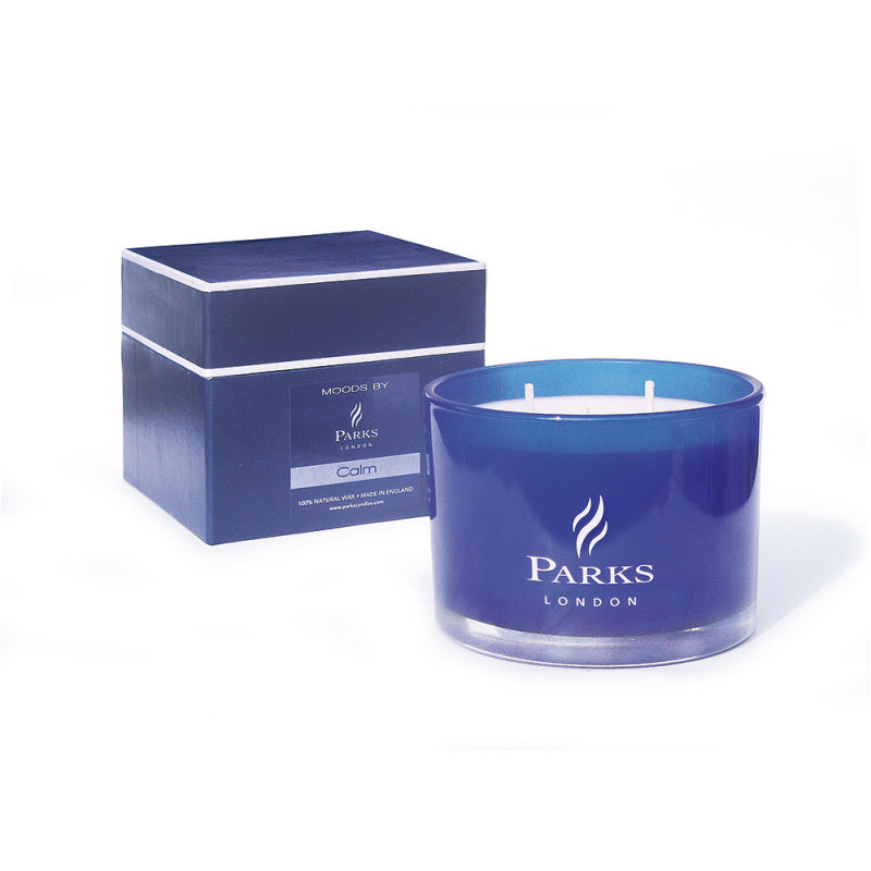 Blue 3 Wick Candle