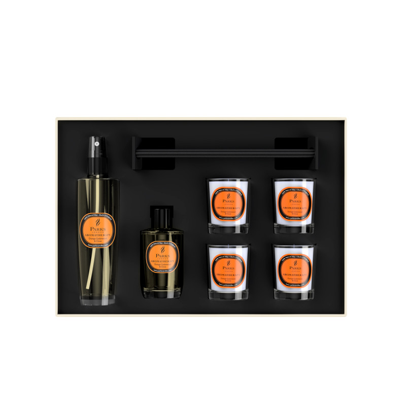 Luxury Gift Set Orange, Cedarwood & Clove 4 Votive Candles, Diffuser & Room Spray