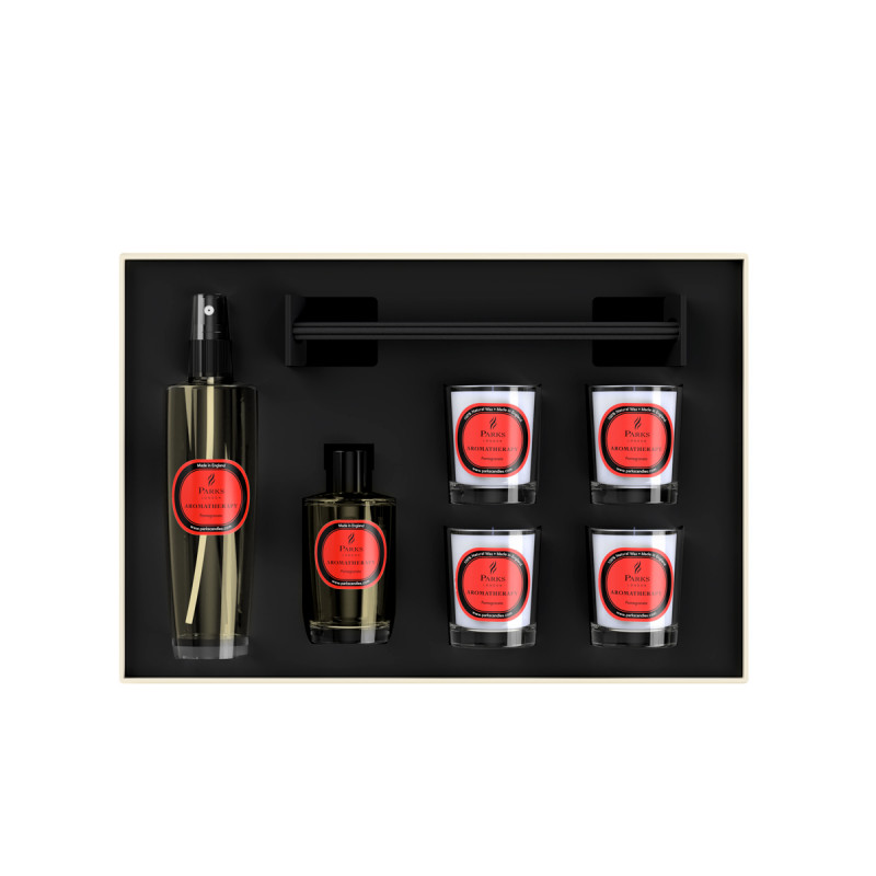 Luxury Gift Set Pomegranate 4 Votive Candles, Diffuser & Room Spray