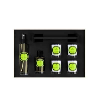 Luxury Gift Set Lime, Basil & Mandarin 4 Votive Candles, Diffuser & Room Spray