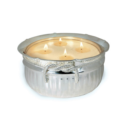 Silver Collection Classic Rope Bowl 4 Wick Candle