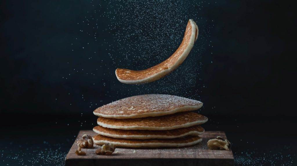 pancake with sugar being flipped